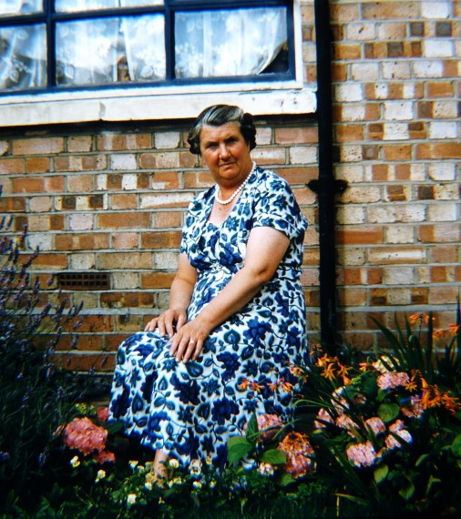 Edith Skelton (née Stops) in the garden of her own house in Hampton in 1963