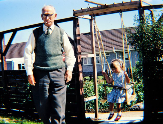 Grandad Skelton in the back garden